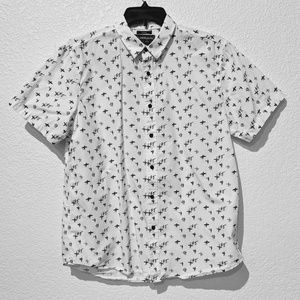 American Rag white surfer short sleeve shirt. Sz L